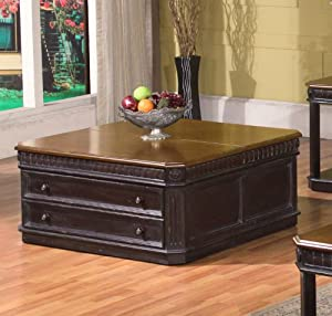 Lift Top Cocktail Table in Black and Espresso by Parker House