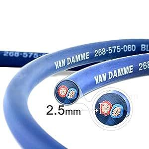 Van Damme Professional Blue Series Studio Grade 2 x 2.5 mm (2 core) Twin-Axial Speaker Cable 268-525-060 4 Metre / 4M