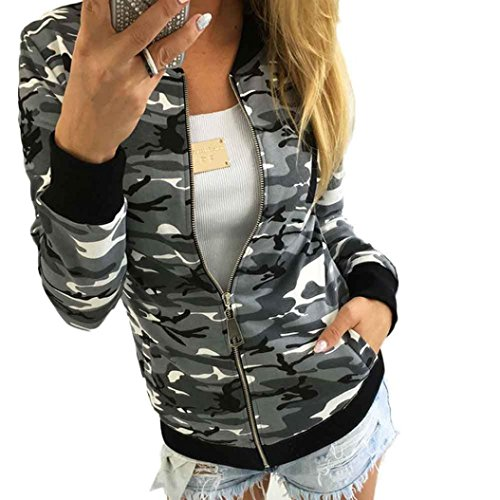 Camouflage Jacket Coat, Hemlock Women's Slim Soft Zipper Short Coat Long Sleeve Cardigan Outwear (S, Grey)