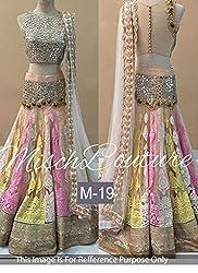 KMOZI Multi Colour Bridal Net Embroidered Lehenga Choli On