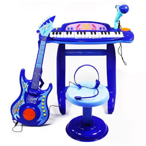 Toy Piano Guitar Combo Blue Music Instrument Musical Educational Games
