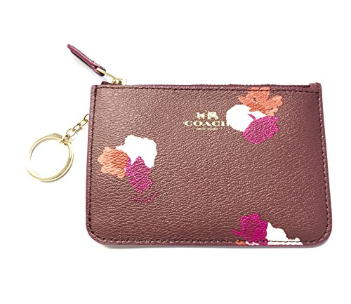 coach-leather-coin-case-key-pouch-key-chain-burgundy
