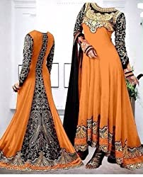 Shree Fashion Woman's Georgette With Dupatta [Shree (89) Orange_Orange]