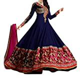 Beautiful Designer Semi-stiched Anarkali Blue Dress Material By Durga Fashion