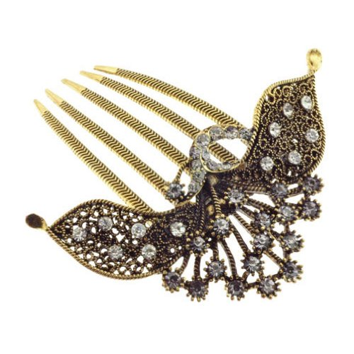 Antique Gold Tone Hair Comb with Intricate Metal Design and Lots of Crystals Adorning this Beautiful Piece