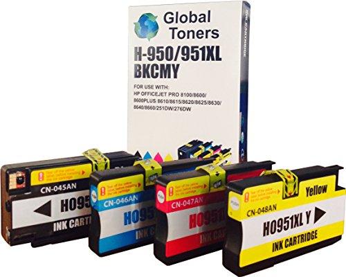 Inkjet-UK HP950XL und HP951XL Tintenpatronen mit Chip für HP Drucker Officejet Pro 8600 Premium Plus All-in-One 8100 e-All-in-One, wiederaufgearbeitet, Kombipack, 1 Set