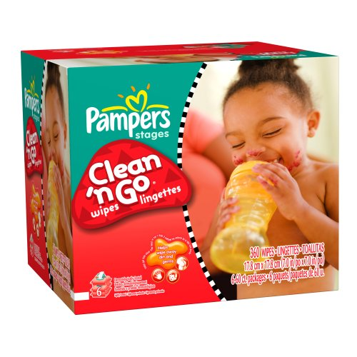Pampers Clean n Go 6X Wipes 360 Count (Pack of 6)