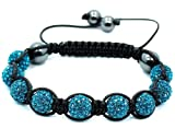 Blue Crystal Shamballa Bead Adjustable Bracelet Picture