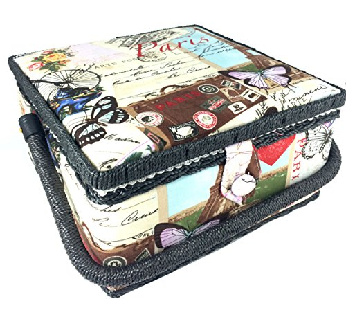 Fantastic Deal! Paris Print Sewing Basket 9.25x9.25x5 Inches