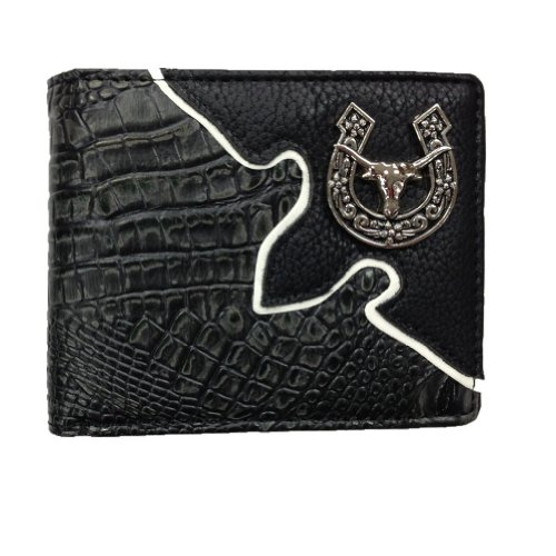 Texas Longhorn Emblem Men's Wallet in Ostrich/crocodile. Black/brown Wn016-6 (Crocodile Black) at Amazon.com