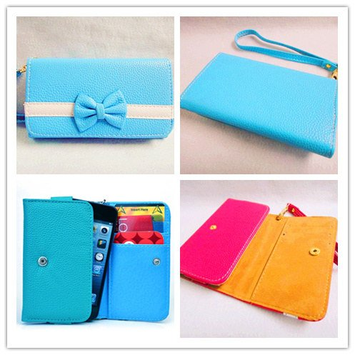 Bowknot Bow Girl Cute lovely Leather Wallet Purse Flip Smart-Phone Wristlet Clutch Leather Wallet Case Cover for Samsung Mobile Cell Phone 1 Samsung Galaxy S Blaze 4G SGH-T769 T-Mobile - blue