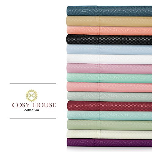 Cosy House 6 Piece Microfiber Bed Sheets with Matte & Shine Pattern | 1800 Series | Set Includes 1 Deep Pocket Fitted Sheet, 1 Flat Sheet & 4 Pillowcases in Zippered Case, Cal King, Lavender - Dots (Ca King Fitted Sheet Only compare prices)
