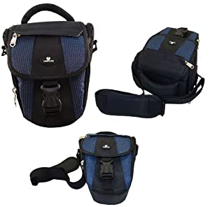 Case4Life Noir / Bleu Zoom Nylon SLR reflex photo numérique étui sac pour Nikon SLR D série - D3100, D3200, D3300, D4, D40, D5100, D5200, D5300, D5500, D610, D700, D7100, D800, D810, D810A - Garantie à vie