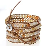 51O5W7de2UL. SL160  Natural Agate Chan Luu Bracelet Wrap Bracelet on Brown Leather
