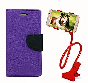 Aart Fancy Diary Card Wallet Flip Case Back Cover For Samsung S6 Edge - (Purple) + 360 Rotating Bed Tablet Moblie Phone Holder Universal Car Holder Stand Lazy Bed Desktop for by Aart store.