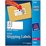 Avery Mailing Labels for Laser Printers, 2 x 4 Inches, 10-Up, White, Box of 1000  (5163)
