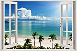 """Removable Wall Decals - Huge Vinyl Mural - 3D Window Stickers - Large Nature Poster 33.5"""" X 45"""" - Wall Art Home Decor - New Wallpapers for Walls - Mural Wall Art - Beach Wall Decor"""