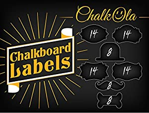 80 Premium Chalkboard Labels - Reusable adhesive Stickers. 7 Fancy Designs - 3.2 x 2 inch. Use with Chalkola Chalk Markers on Mason Jars, Kitchen, Pantry, DIY crafts