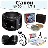 Canon EF 50mm f/1.8 II Camera Lens With Opteka HD² 3 Piece (UV, PL, FL) Filter Kit, 52mm Screw Mount Lens Hood And More