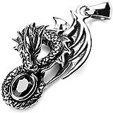MunkiMix Acier Inoxydable Pendentif Collier Agate Noir Dragon Rétro Homme ,58cm chaîne