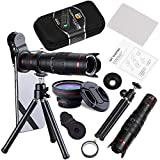 BECEMURU Phone Camera Lens,22X Telephoto Zoom Camera Lens Kit Double Regulation HD Scale Distance FOV Cell Phone Lens Attachment with Tripod for iPhone X/8/7/7 Plus/6s/6/5,Android Smart Phone (Color: 4 In 1)