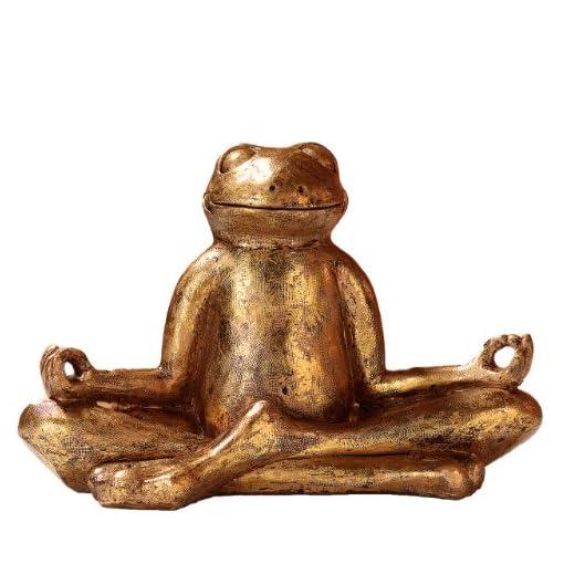 Pajoma-48410b-Dekofigur-Yoga-Frosch-Relax-Plastik-gold-295-x-145-x-205-cm