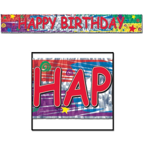 Beistle - 57717 - Metallic Happy Birthday Fringe Banner- Pack of 12 - 1