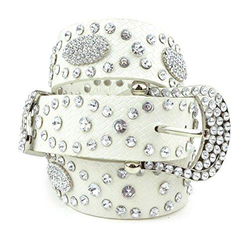 Belle Donne Womens Diamond Rhinestone Cowgirl Rodeo Horse Studded Bling Belt- White/S