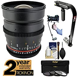 Rokinon 24mm T/1.5 Cine Wide Angle Lens with 2 Year Ext. Warranty + Steadycam + 3 Filters Kit for Sony Alpha E-Mount A7, A7R, A7S, A3000, A5000, A6000, NEX-5T, 6, 7 Cameras