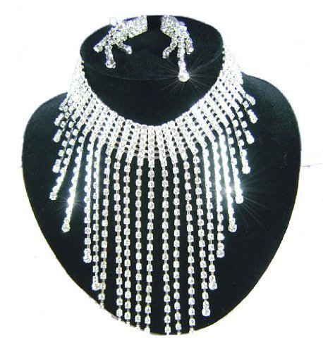 Eye Catching Crystal Silver Bridal Wedding Queen Jewellery Earrings Necklace Set with PreciousBags Dust Bag
