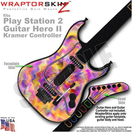 PS2 Guitar Hero II ( 2 ) Kramer Guitar Tie Dye Pastel WraptorSkinz TM Faceplate Skin by TuneTattooz TM