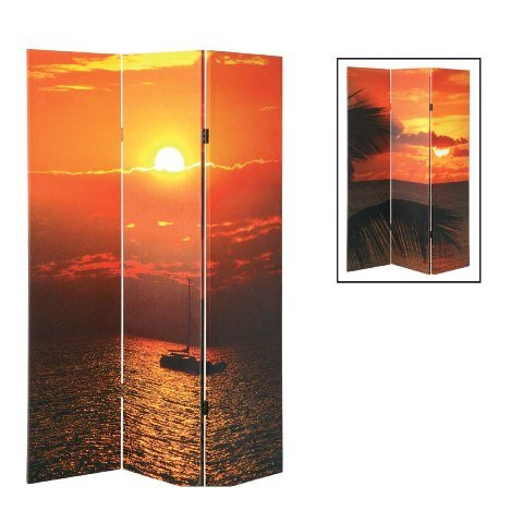 SUNSET 3 Pane Wooden Framed and Double-Sided Decorated Photo Fabric Room Divider / Splitter Screen