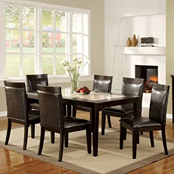 Evious Contemporary Style Espresso Finish Faux Marble Top 7-Piece Espresso Upholstery Dining Table Set