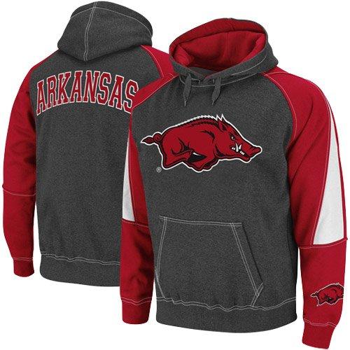 Arkansas Razorbacks Charcoal-Cardinal Playmaker II Pullover Hoodie Sweatshirt (Large)