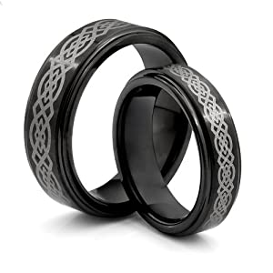 His & Her's 8MM/6MM Tungsten Carbide Black Wedding Band Ring Set w/Laser Etched Celtic Design (Available Sizes 4-14 Including Half Sizes)
