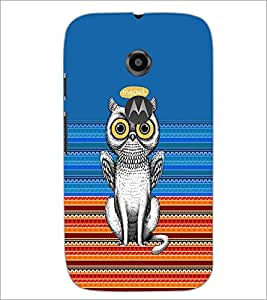 PrintDhaba Meowl D-3518 Back Case Cover for MOTOROLA MOTO E2 (Multi-Coloured)
