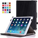 Apple iPad Air 2 Case - MoKo Genuine Leather Slim-Fit Multi-angle Folio Cover Case for Apple iPad Air 2 (iPad 6) 9.7 Inch iOS 8 Tablet, BLACK (with Smart Cover Auto Sleep / wake)