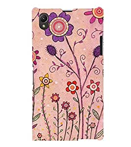 Printvisa Pink And Puple Flowers Back Case Cover for Sony Xperia Z1::Sony Xperia Z1 L39h