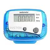 Insten Mini Digital LCD Pedometer Walking Running Bike Step Calorie Distance Calculation Clip-on Counter Blue