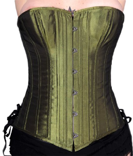 B. Iris Plus Size Iridescent Steel Boned Overbust Corset w/ P-Tops Bag