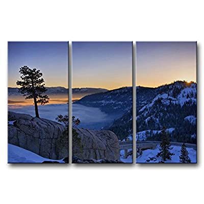 Trend  Pieces Wall Art Painting Donner Lake Snow Mountain Trees Huge Rock Prints On Canvas The ue ue