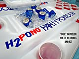 H2PONG Inflatable Beer Pong Table with Built In Cooler, Includes 5 Ping Pong Balls - Floating Pool Party Game Raft and Lounge