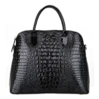 Kattee Luxury Crocodile Embossed Genuine Patent Cow Leather Tote Bag