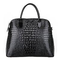 Kattee Luxury Crocodile Embossed Genuine Patent Cow Leather Tote Bag