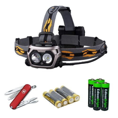 Fenix Hp25 Steel Grey Color 360 Lumen Led Flood/Spot Combination Light Headlamp With Victorinox Swiss Army Classic Sd Knife/Multi-Tool, Four Aa Batteries And Four Edisonbright Aa Alkaline Batteries