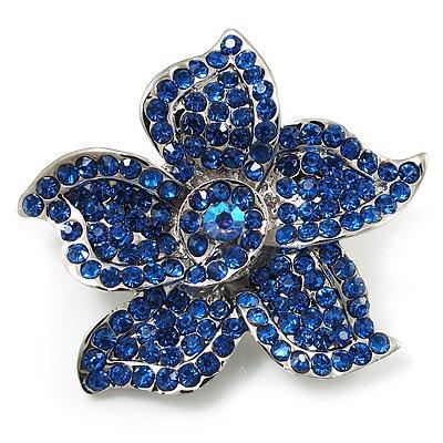 Small Sapphire Diamante Flower Brooch (Silver Tone)