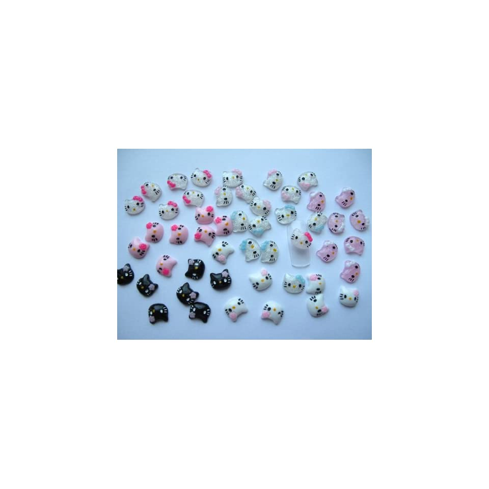 Nail Art 3d 50 Pieces Mix Hello Kitty Head for Nails, Cellphones 1.2cm
