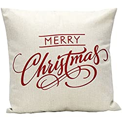 Sankuwen Home Decoration Christmas Pillow Cushion Cover (Christmas white)