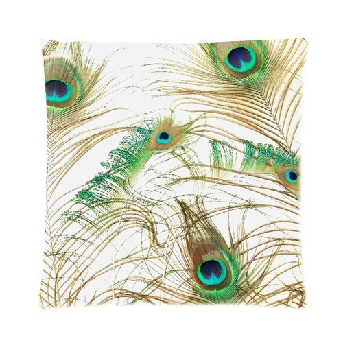 """Elegant Peacock Feathers Print Custom Zippered Pillow Cushion Case Throw Pillow Covers 16""""X16""""(Two Sides) front-917242"""