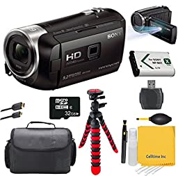 Sony HandyCam HDR-PJ440 HD Camcorder- With Built in Projector- Bundle with 32GB Micro SD Card + 12\